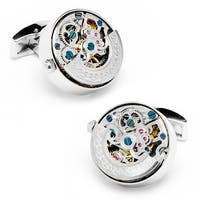 Stainless Steel Silver Plated Kinetic Watch Movement Cufflinks