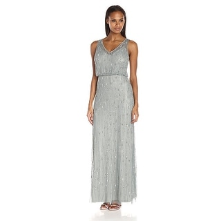 Adrianna Papell V-Neck Beaded Evening Gown Dress - 10