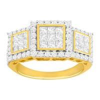 2 ct Pavé Diamond Trio Ring in 14K Gold