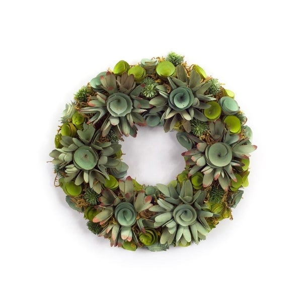 Set of 2 Extravagant Green Two-Tone Artificial Decorative Succulent Wreath 14.5