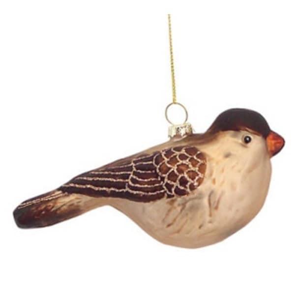 "5.5"" Luxury Lodge Chubby Woodland Bird Glass Christmas Ornament"