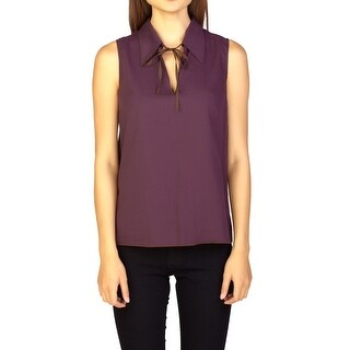 Miu Miu Women's Cotton Sleeveless Blouse Maroon