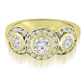 1.50 cttw. 14K Yellow Gold Three-Stone Triple Halo Round Diamond Engagement Ring