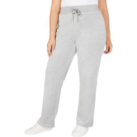 Calvin Klein Womens Velour Casual Wide Leg Pants, Grey, 3X