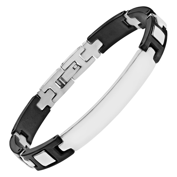 Men's Stainless Steel & Rubber ID Bracelet - White