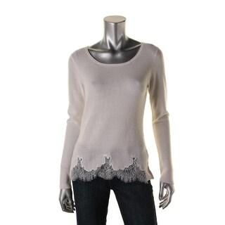 Elie Tahari Womens Maya Merino Wool Lace Trim Pullover Sweater