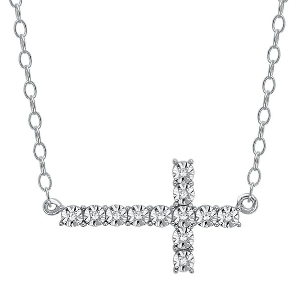 Horizontal Cross Necklace with Diamonds in Sterling Silver