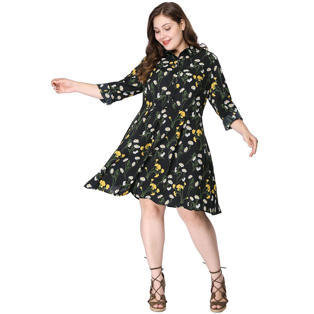 Women\'s Plus Size Knee Length Flared Floral Print Shirt Dress - Black
