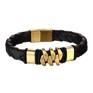 Leather Braided Mens Bracelet Wristband Gold Tone Stainless Steel