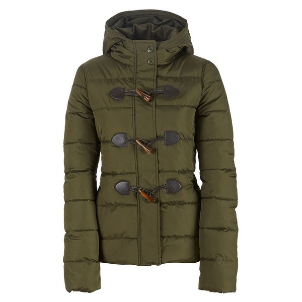 Aeropostale Womens Toggle Puffer Jacket, green, X-Small. Opens flyout.