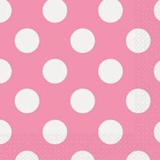 "Hot Pink Decorative Dots - Luncheon Napkins 6.5""X6.5"" 16/Pkg"