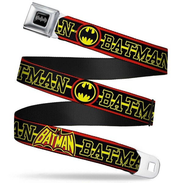 Batman Black Silver Batman Retro Logos Stripe Fluorescent Red Black Yellow Seatbelt Belt