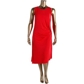 MICHAEL Michael Kors Womens Plus Sleeveless Gathered Wear to Work Dress