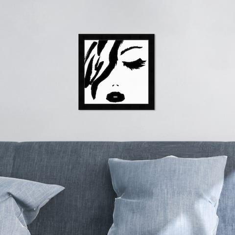 Oliver Gal 'All Black Lipstick' Fashion and Glam Wall Art Framed Print Portraits - Black, White