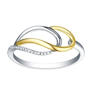 Stylist 0.04Ct Natural G-H/I1 Diamond Light Weight Two Tone Fancy Ring - White G-H