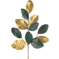 Pack of 12 Decorative Gold and Green Magnolia Leaf Spray