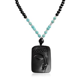 Buddha Face Obsidian Pendant Synthetic Turquoise Bead Necklace 26 Inches - Black