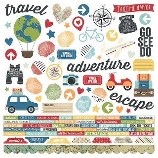 """Travel Notes Cardstock Stickers 12""""X12""""-Combo"""