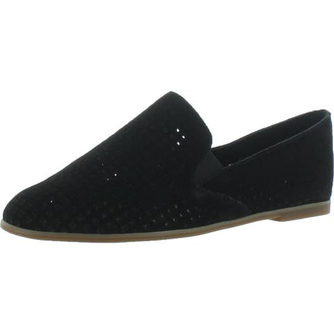 Lucky Brand Womens Carthy Fashion Loafers Suede Perforated - Black - 7 Medium (B,M)