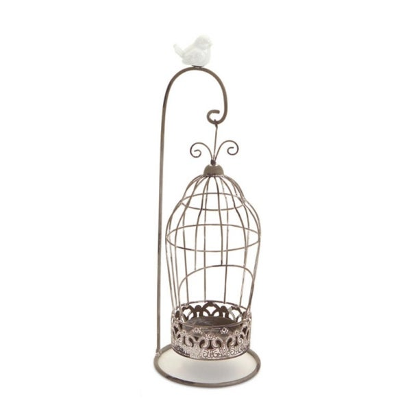 13 Vintage Rose Antique Style Hanging Bird Cage Tea Light Candle Holder With Stand