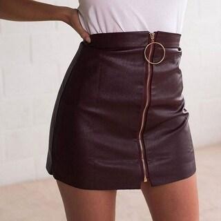 Autumn Winter Above Knee Black PU A Line Skirts Zipper Wine Red High Waist Short Leather Skirt