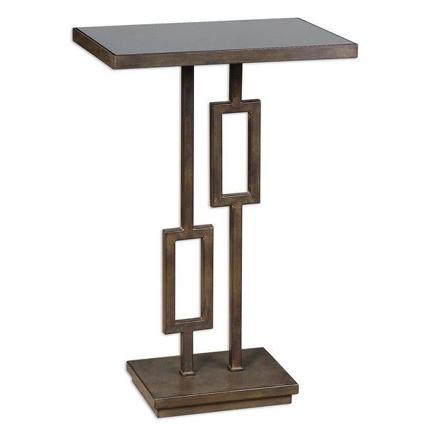 "27"" Franco Geometric Dark Bronze Iron & Black Glass Accent Pedestal Side Table - N/A"