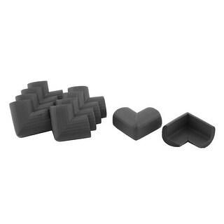 Stripe Design NBR Furniture Table Edge Corner Protector Cushion Black 10 Pcs