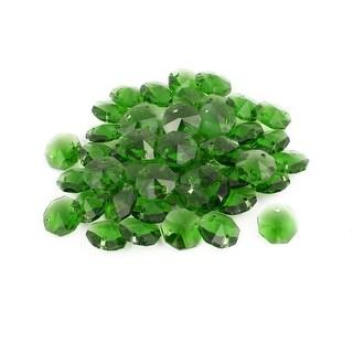 50pcs 14mmx14mm Octagonal Crystal Beads Green for DIY Light Accessories