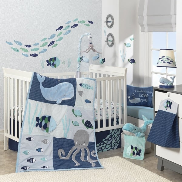 Lambs & Ivy Oceania Blue/Gray/White Whale with Octopus and Fish Nautical Ocean 6-Piece Nursery Baby Crib Bedding Set