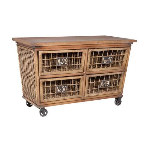 "Elk Home 713554 Artifacts 56"" Wide Mahogany Island Cart"