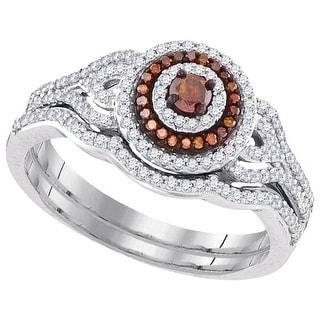 10k White Gold Womens Red Colored Diamond Bridal Wedding Engagement Ring Band Set 1/2 Cttw
