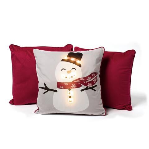Sure Fit Snowman Light Up Decorative Throw Pillow Bundle