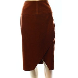 INC NEW Brown Faux-Suede Women's Size 4 Asymmetrical Pencil Skirt