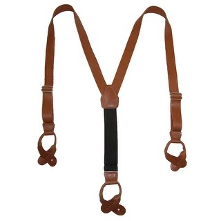 CTM® Men's Leather Button-End 1 Inch Suspenders - One Size