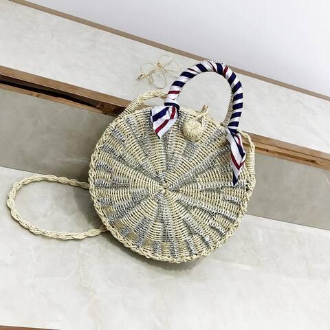 QZUnique Women's Straw Woven Bucket Bag Crossbody Bag Shoulder Bag Round Handbag Purse With Ribbon