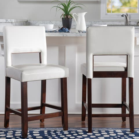 Porch & Den Warren Faux Leather 24-inch Counter Stool