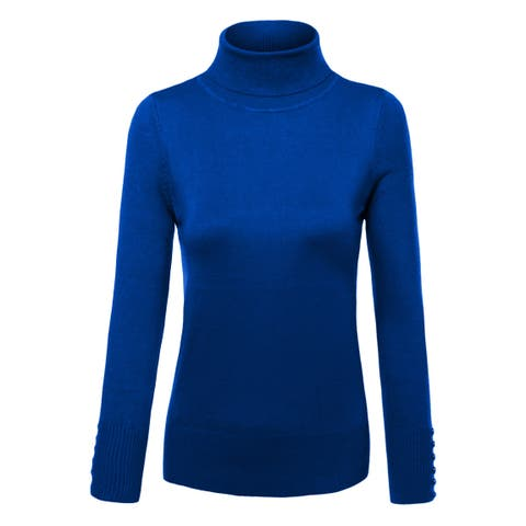 NE PEOPLE Womens Knit Turtle Neck Swater with Button [NEWT310]