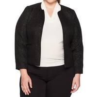 Nine West Black Womens Size 18W Plus Tweed Sequin Open Front Jacket