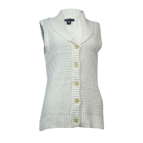 American Living Women's Mixed-Knit Buttoned Sweater Vest