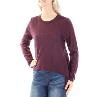 Womens Purple Long Sleeve Jewel Neck Casual Trapeze Top Size 2XS