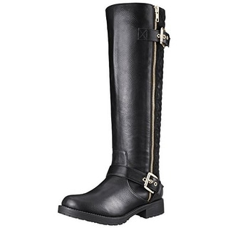Penny Loves Kenny Womens Dallas Motorcycle Boots Faux Leather Quilted