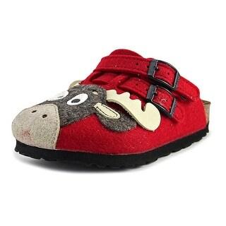 Birki's Kay Tiermotiv N Open Toe Canvas Slides Sandal