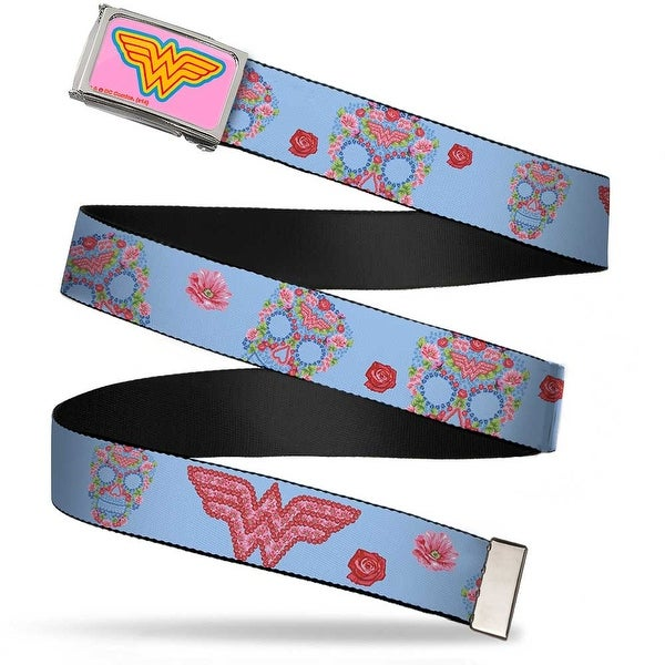 Wonder Woman Logo Fcg Pink Blue Yellow Pink Chrome Wonder Woman Logo & Web Belt