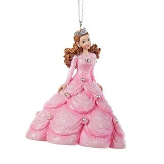 """4"""" Ice Palace Princess in Pink Ball Gown Dress with Rhinestones Decorative Christmas Ornament"""