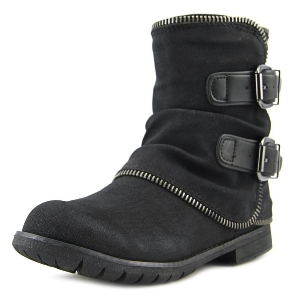 Not Rated Who's Talkin Women Round Toe Synthetic Black Combat Boot