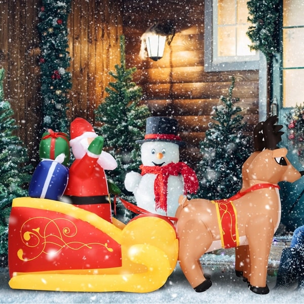 Costway 7 Ft Waterproof Inflatable Double Deer w/ Sled Christmas Decoration Outdoor Art - as pic