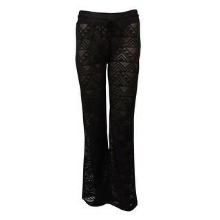 Miken Women's Crochet Lace Drawstring Swim Pants Cover-Up (XS, Black) - XS