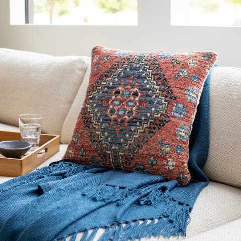 Cresco Woven Jute Tribal Medallion 18-inch Down or Poly Filled Pillow