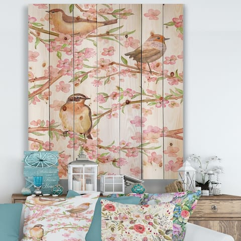 Designart 'Branches Of Flowering Almond and Lovely Birds' Traditional Print on Natural Pine Wood