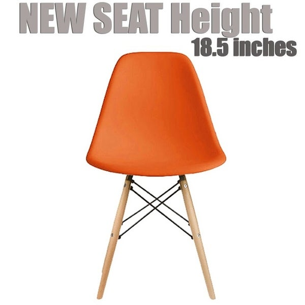2xhome Modern Side Dining Chair Orange with Natural Wood Legs